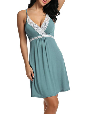 Sleepwear Womens Chemise Nightgown Full Slips Lace Sling Dress Sexy Lingerie S-XXL