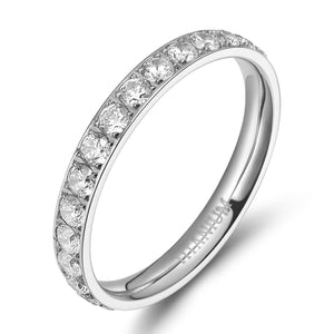 TIGRADE 3mm Women Titanium Eternity Ring Cubic Zirconia Anniversary Wedding Engagement Band Size 4 to 12.5