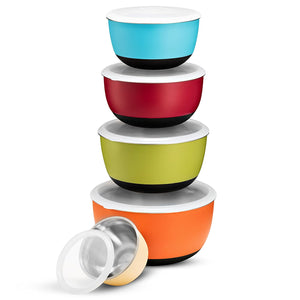 Multicolor Premium Grade Stainless Steel Mixing Bowl Set With Vacuum Seal lids 5 Piece, Plastic Exterior, Non-Skid Bottom Nesting Storage Bowls for Easy Mixing, ¾, 1 ½, 2 ⅖, 3, and 5 qt Sizes