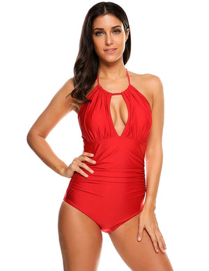 Women's Retro Tankini One Piece Tummy Control Monokini Swimsuit