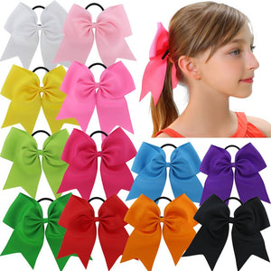 "12Pcs 7.5"" Baby Girl Large Cheer Hair Bows Ponytail Holder Elastic Hair Ties"