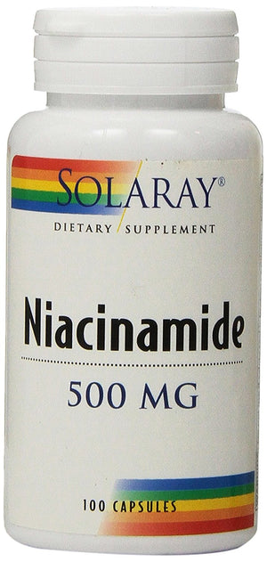 [Pack of 2] Solaray Niacinamide Capsules, 500 mg, 100 Count Each