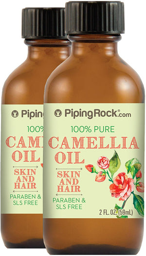 Piping Rock 100% Pure Organic Camellia Skin & Hair Oil 2 Bottles x 2 fl oz (59 mL) Bottle Paraben and SLS Free