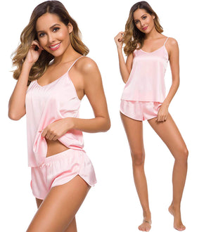 Womens Sexy Lingerie Silk Satin Pajamas Cami Shorts Set Sleepwear