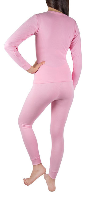 Sexy Women's Thermal Underwear Set Top & Bottom Fleece Lined Cotton