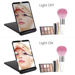 LED Lighted Makeup Mirror, SCOPOW Travel Mirror with 8 Dimmable Led Lights,1X and 2X Magnification, Touch...