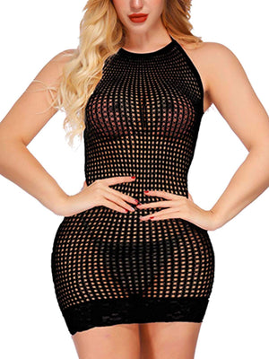 Women Lingerie Fishnet Babydoll Halter Stretch Chemise Sexy Mini Dress for Women