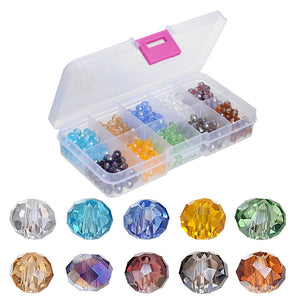 YUEAON wholesale 500PCS 6mm AB glass beads for jewelry making With Container Box Faceted Spacer Bead crystal #5040 Briollete Rondelle Fire-polished