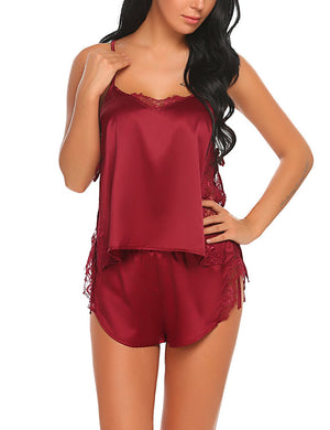 Women Satin Pajama Cami Set Side Split Lace Lingerie Nightwear