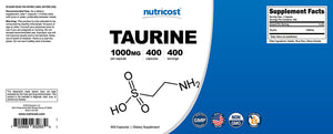 [Pack of 2 x 400 Capsules] Nutricost Taurine 1000mg; 400 Capsules (2 Bottles)