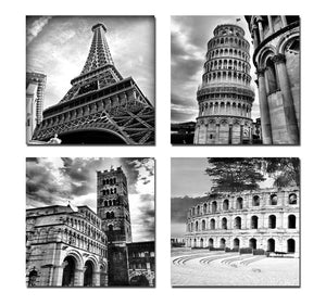 Art - Architectures Modern 4 Panels Giclee Canvas Prints Europe Buildings Black and White Landscape Pictures Paintings on Canvas Wall Art Ready to Hang for Bedroom Home Office Decorations