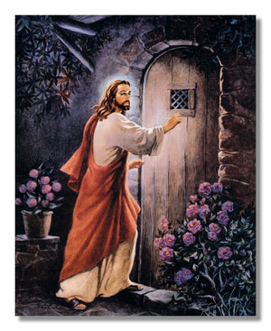 Jesus Knocking on your Door Religious Wall Picture B/C Matted Framed Art Print