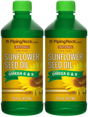 Natural Sunflower Seed Oil 2 Bottles x 16 fl oz (473 mL) 100% Pure Contains Omega 6 & 9