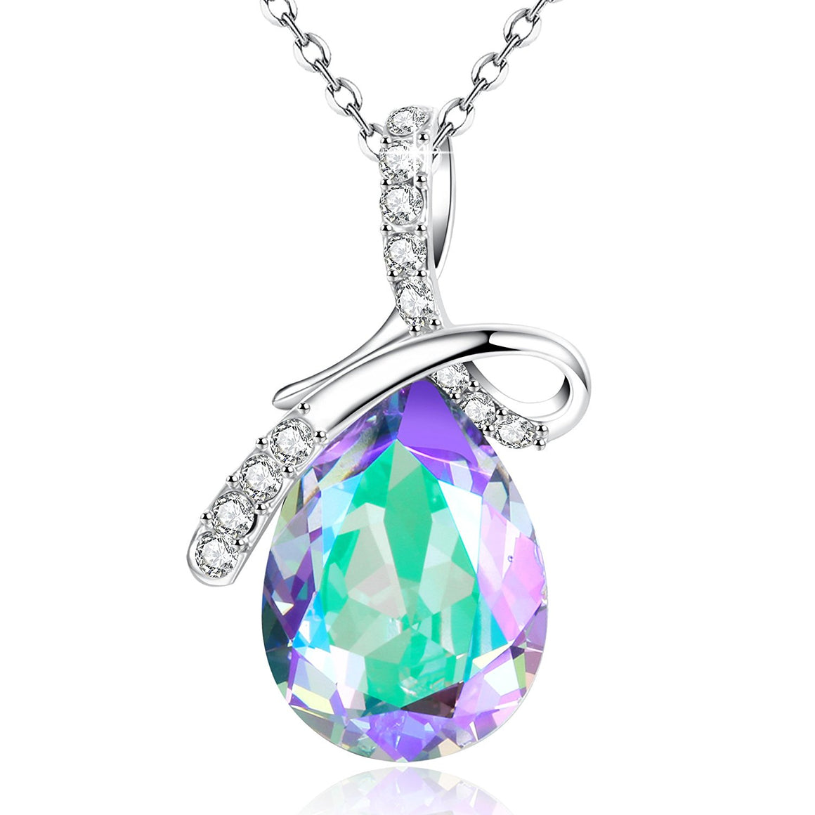 """ Crystal Lake"" Purple Pendant Necklace Teardrop Shaped Jewelry Gift,Made with Swarovski CrystaI"