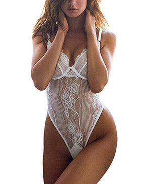 FIYOTE Women Hollow Out Lace One Piece Bodysuit Teddy Lingerie