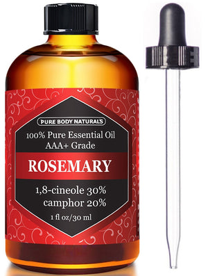 [Pack of 2] Pure Body Naturals 100% Pure Rosemary Essential Oil, 1 Fl. Oz. Each