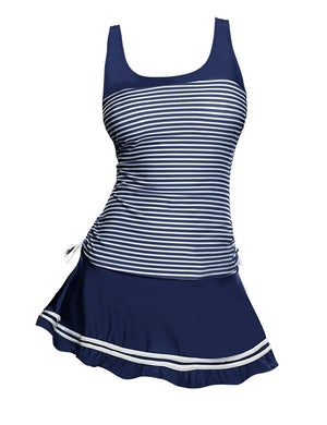 Women's Striped Tankini Set Two Piece Padded Swimsuits With Swim Skirt
