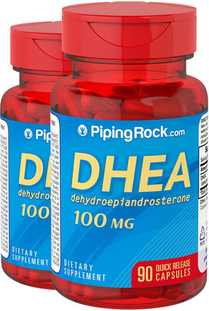 DHEA dehydroepiandrosterone 100 mg 2 Bottles x 90 Quick Release Capsules Dietary Supplement