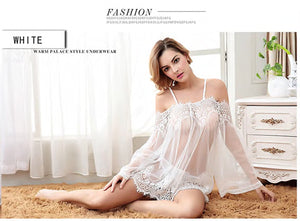 Sexy Lingerie Babydoll Dress Lingerie See-Through Transparent Sleepwear Underwear Lace Lingerie Chemise for Women Sexy Clothes