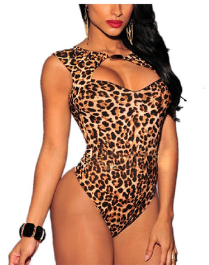 Leopard Print Backless Jumpsuit Sliming Sexy Lingerie