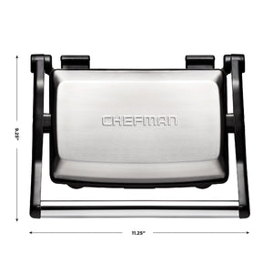 Chefman Panini Press Grill, and Gourmet Sandwich Maker Non-Stick Coated Plates, Opens 180 Degrees to Fit Any Type or Size of Food, Stainless Steel Surface and Removable Drip Tray - RJ02-180