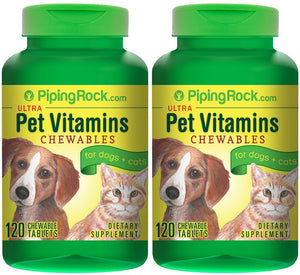 Ultra Pet Vitamins for Dogs & Cats 2 Bottles x 120 Chewable Tablets Dietary Supplement