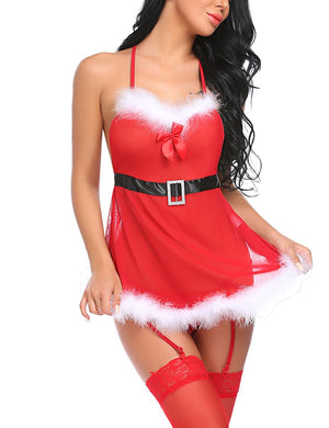 Women Lingerie Christmas Babydolls Red Santa Chemises Sleepwear With Garter Belts