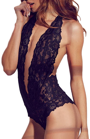 Womens Sexy Open Back Halter Plunging Teddy,Comfortable Scalloped Trim Lace Lingerie
