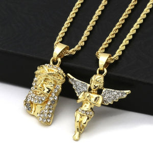 "Men 14k Gold Plated High Fashion 2 pcs Jesus & Angel 2mm 30"" & 24"" Rope chain 07 US"
