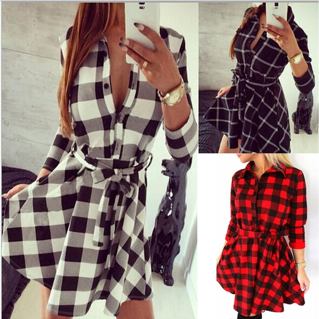 Women Plaid Dress Grids Blouse Dresses Fashion 3/4 Sleeve Mini Vestidos With Belt S-4XL
