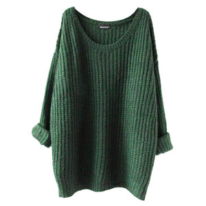 Women Oversized Knitted Sweater Batwing Sleeve Tops Pullover Coat Loose Outwear   2016 Fashion