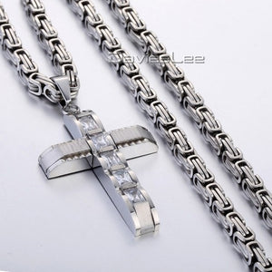 Davieslee Mens Boys Stainless Steel Cross Pendant Necklace 6mm Flat Byzantine Chain 18-36inch Color Optional