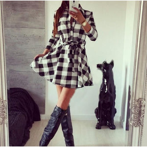 New Women's Slim Long Sleeve Spring Skirt Fashion Grid Dress