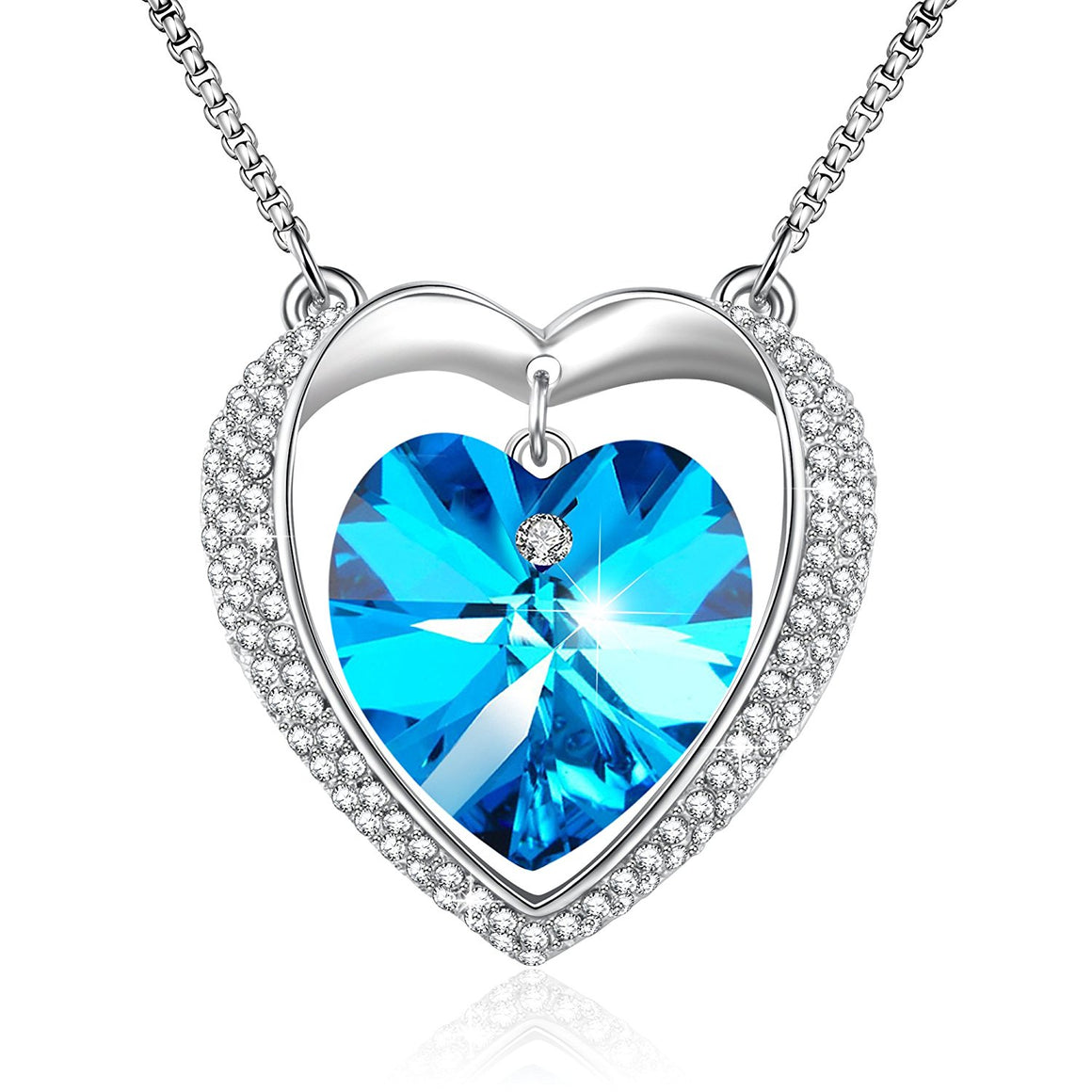 """Angel Guardian"" Love Pendant Necklace Angelady Birthday Anniversary Gifts,Blue Crystal from Swarovski"