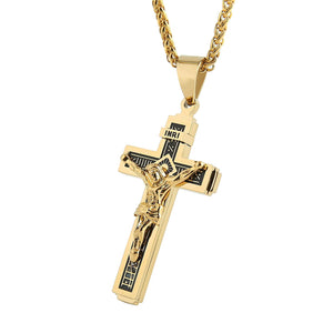 "Catholic Jesus Christ on INRI Cross Crucifix stainless steel Pendant Necklace 24"" Chain"