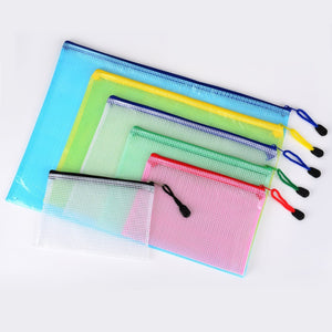 6 Pieces 6 Size Zipper File Bags Mesh Document Bag File Pouch Storage Zipper Bags for Cosmetics Offices Supplies Travel Accessories, 6 Colors