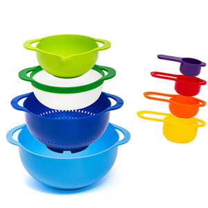 8-Piece Measuring Mixing Bowl Set, Colorful Stackable Bowls For Baking Cooking & More