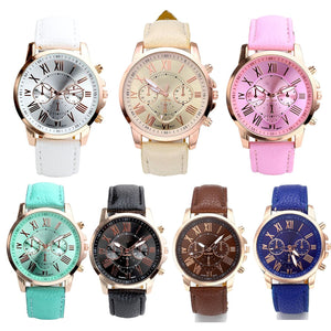 Top Plaza Pack of 7 Fashion Womens Analog Quartz Wristwatches, PU Leather Band Rose Gold Tone