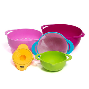 5 Piece Measuring Mixing Bowl Set With Citrus Juicer Colorful Stackable Bowls For Baking Cooking & More