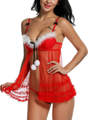 Women Red Christmas Babydolls Set Santa Lingerie Lace Chemises