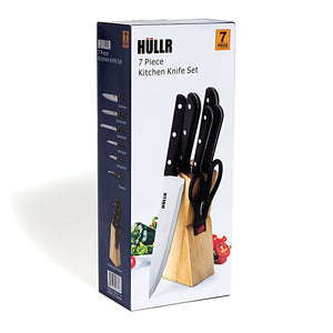 7 Piece Stainless Steel Kitchen Knife Set With Wooden Block