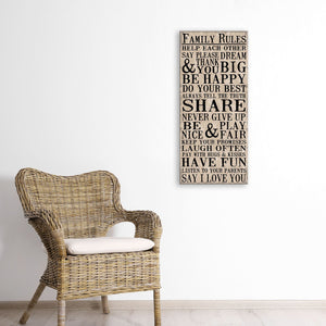 Family Rules, 1-Piece Sign Image Printed Canvas Art, 30 by 15-Inch, Burlap, Perfect for Any Decor