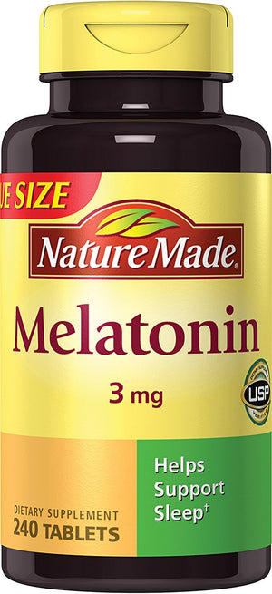 [Pack of 2] Nature Made Melatonin Tablets, Value Size, 3 Mg, 240 Count Each
