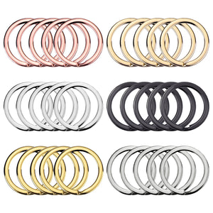 30 Pieces Flat Key Chain Rings Metal Split Ring Round Keyrings Holder Clip for Home Car Keys, 1 Inch, Mixed Colors