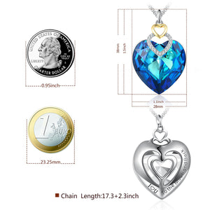 """Fearless Love""Blue Heart Pendant Crystal Necklace with Swarovski Crystal Angelady Jewelry Gifts"