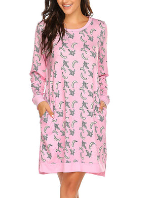 Sleepwear Women's Long Sleeve Printed Pocket Nightgowns S-XXL