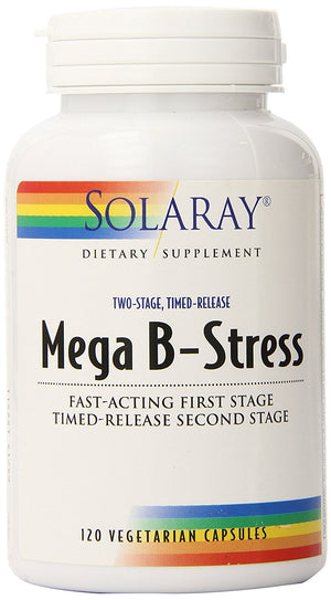 [Pack of 2] Solaray Mega B Stress Two Stage Timed Release Supplement, 120 Count Each