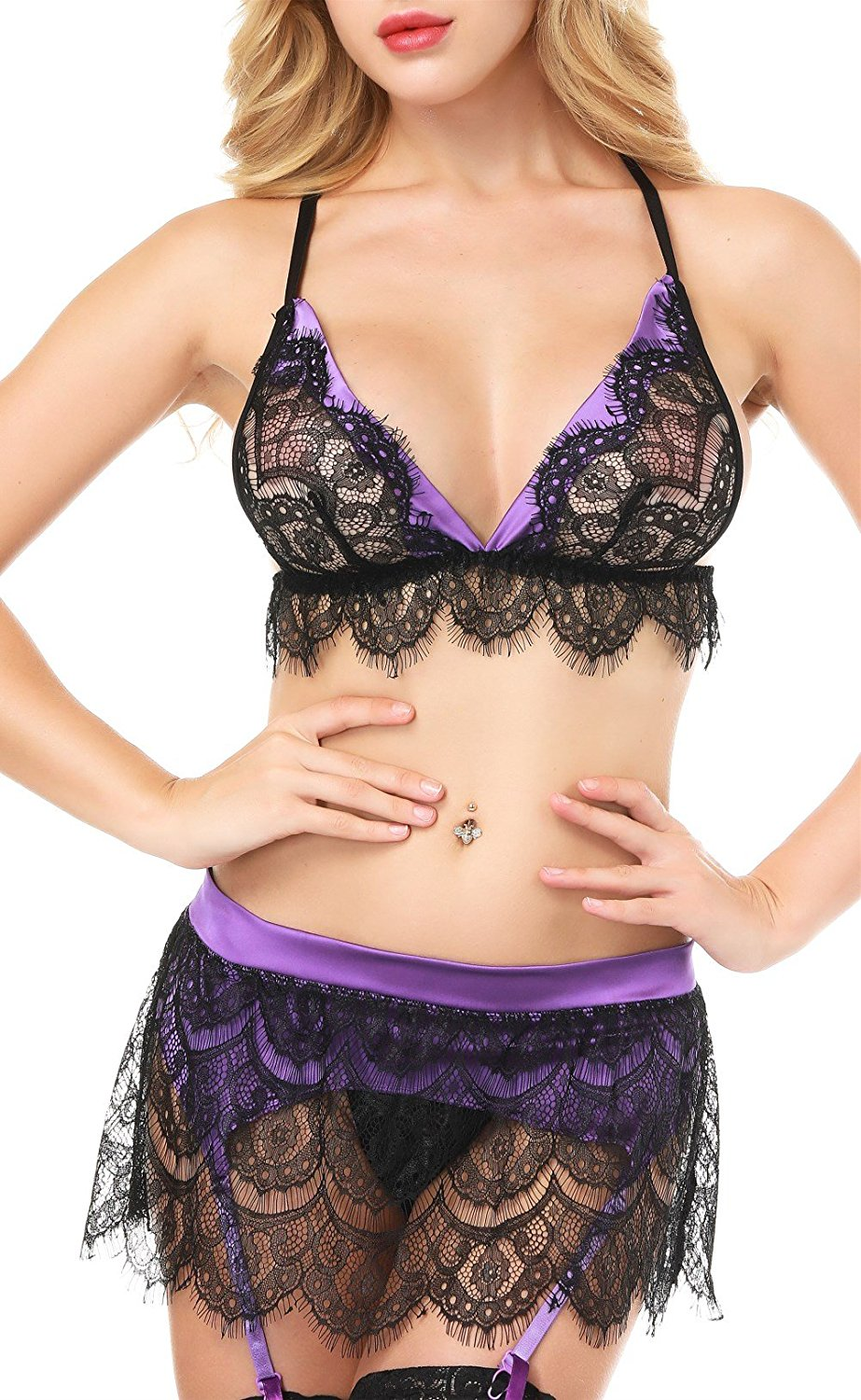 72939b6b86bec ... Sexy Lingerie Lace Bra Set Womens Babydoll Black Purple Scalloped  Bralette Set with G-String ...
