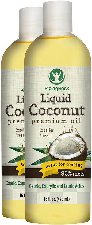 Liquid Coconut Premium Oil 2 Bottles x 16 fl oz (473 mL) Bottle 93% MCTS Capric, Caprylic & Lauric Acids