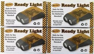 Lot of 4 Mayday Ready Light Flashlights Emergency PPE Dynamo Flashlight, Small Survival Camping Hiking Sport Disaster Safety, Squeeze handle to charge, No Batteries required, Hand Squeeze Power